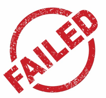 Fail stamp in red ink with white background: LawteryX Defective Drugs and Medical Malpractice Blog