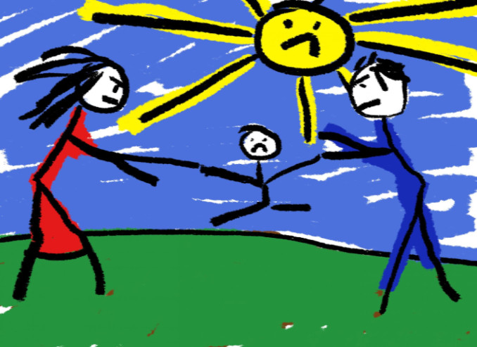 Child drawing of parents fighting: LawteryX Divorce/Family Law Blog
