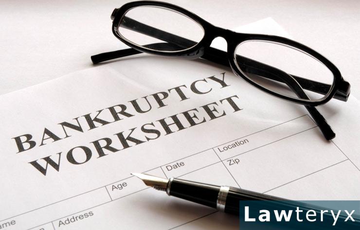 close-up image of bankruptcy worksheet