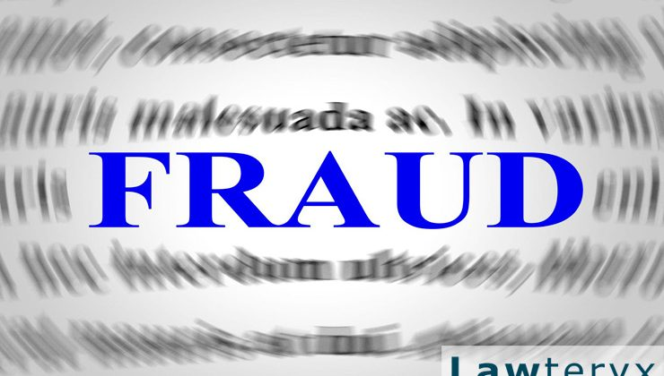 "the word ""fraud"" in large blue typeset against a blurred background"